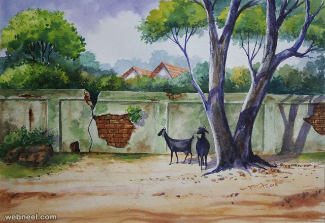 watercolor paintings by balakrishnan