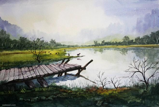 watercolor painting by balakrishnan