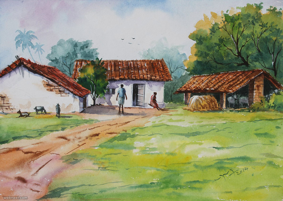 village watercolor paintings by balakrishnan