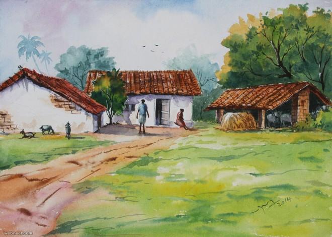 village watercolor paintings by balakrishnan
