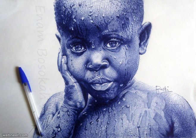 pen drawings by enam bosokah