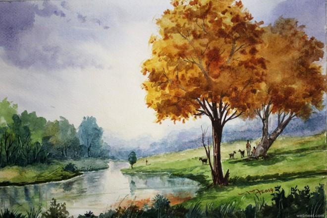 watercolor paintings by balakrishnan