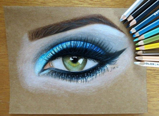realistic eyes color pencil drawing by taylor brooker