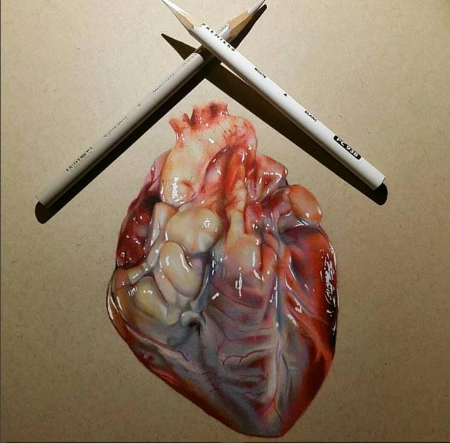 heart color pencil drawing by miguel santiago