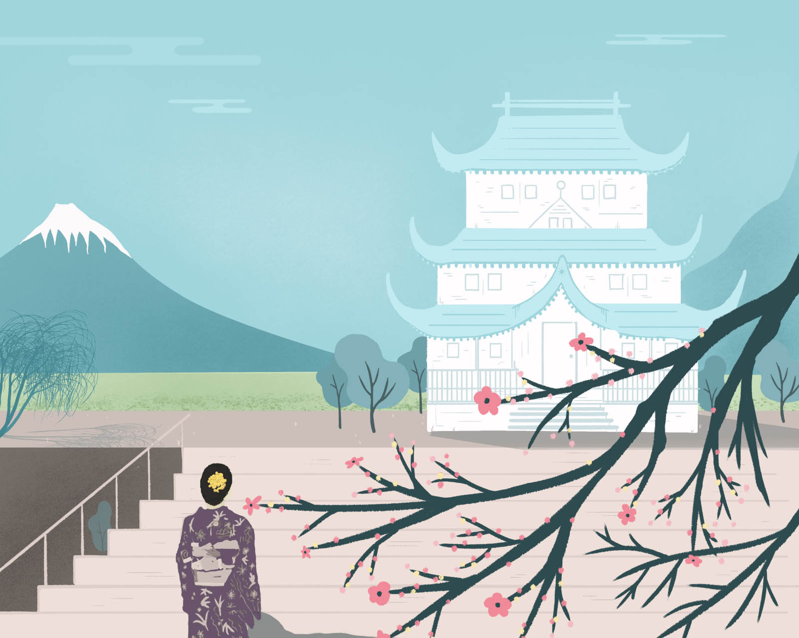 temple trip japanese illustration by rob levin