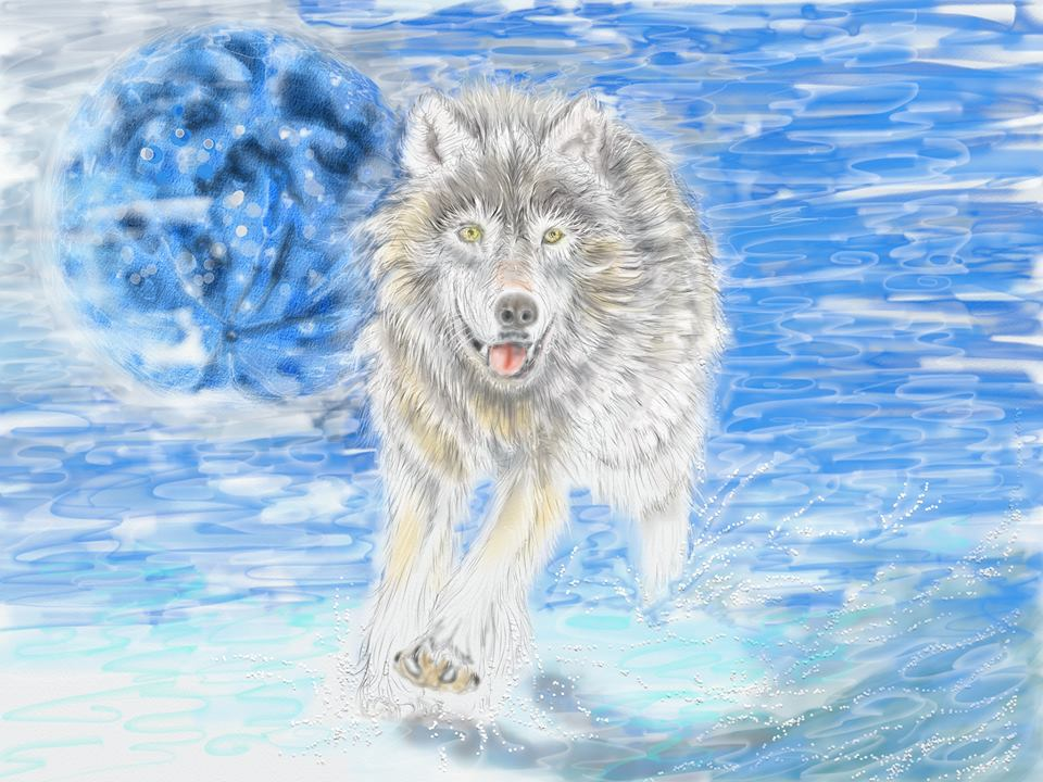wolf artrage painting by kerry beauchamp