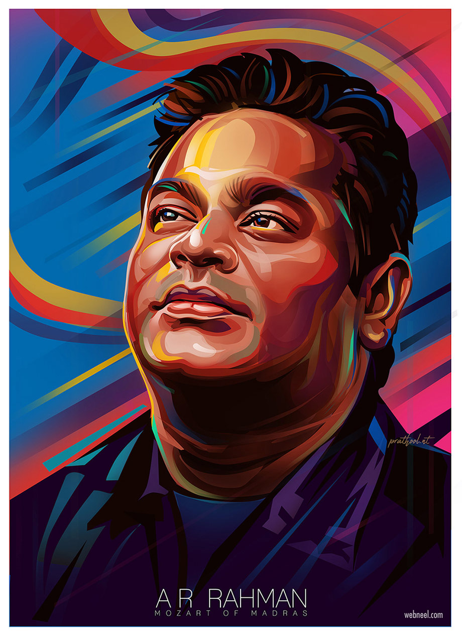 digital art vector illustration ar rahman musician by prathoolnt