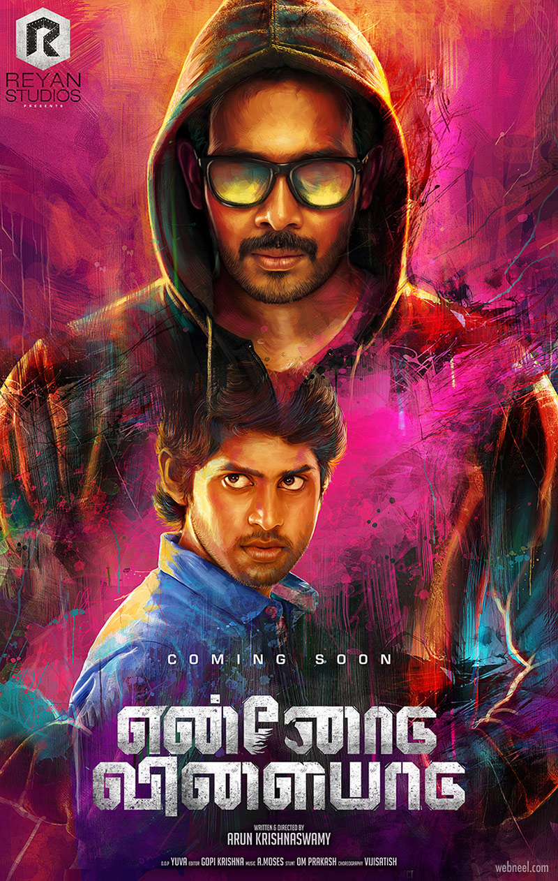 digital painting movie poster ennodu vilaiyadu tamil india by