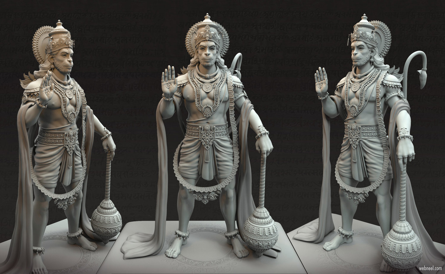 3d model design anjaneya hanuman by harshal battin