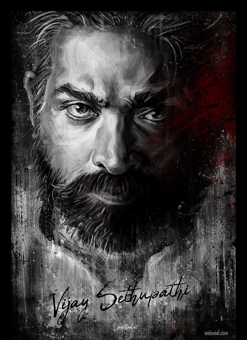 digital painting vijay sethupathi indian actor by prathoolnt