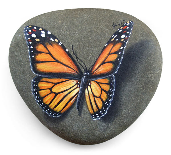 butterfly acrylic painting on stones by roberto rizzo