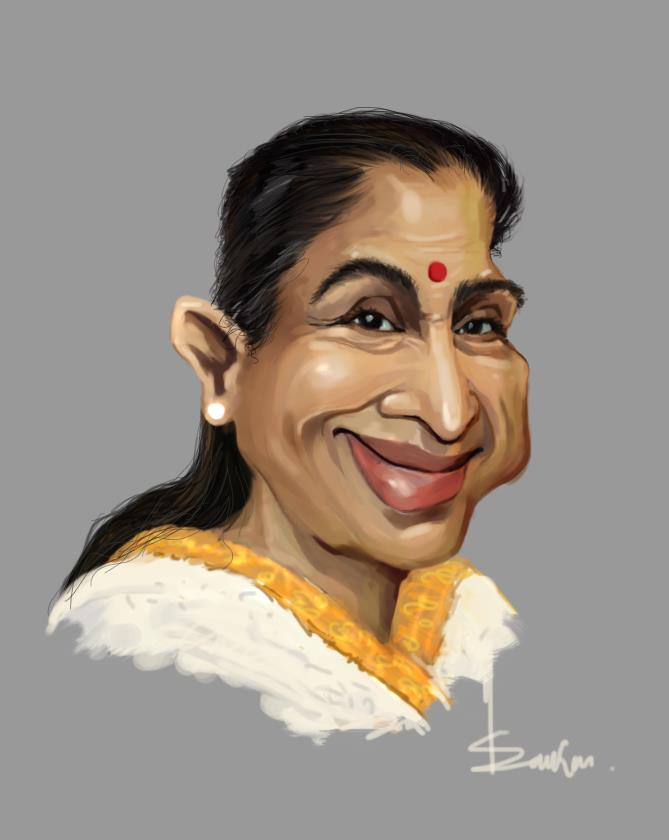 caricature cartoon of asha bhosle by sankar