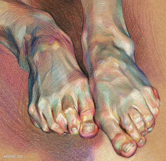 color pencil drawing legs by wanjin gim