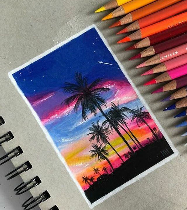 colored pencil sunset by paperdoodles