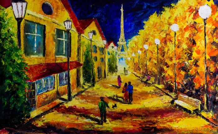 palette knife oil painting paris street by valery rybakow
