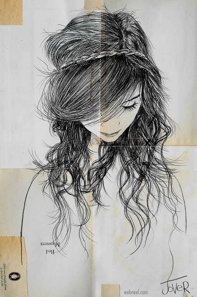 pencil drawing hair woman by loui jover