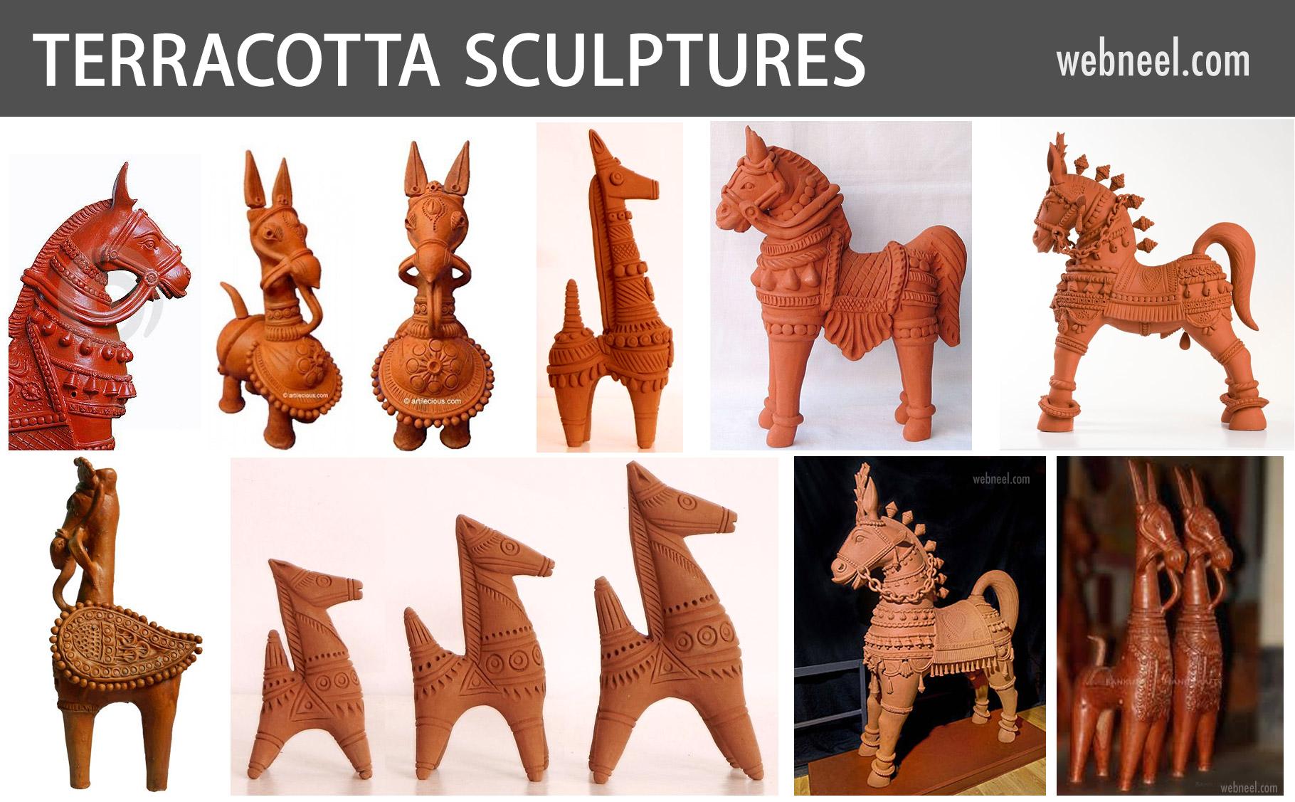 terracotta sculpture horse india