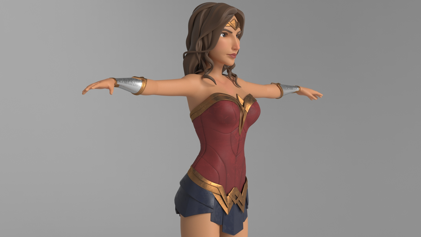3d model wonder woman side