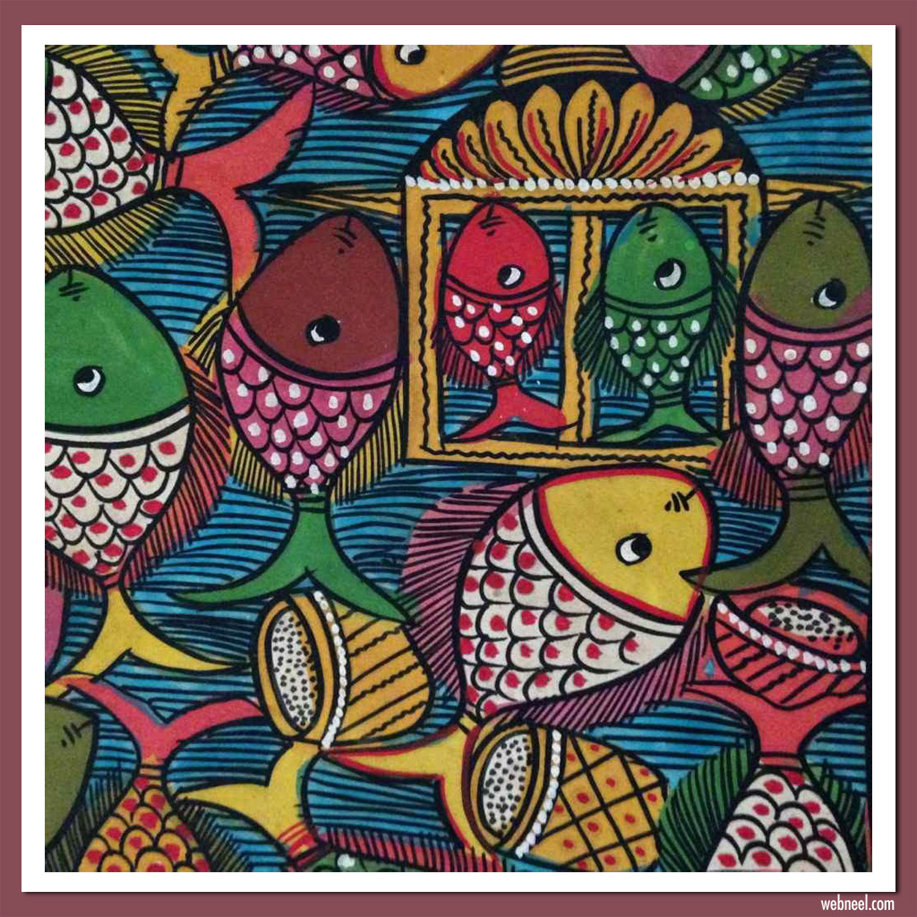 pattachitra painting fish wedding