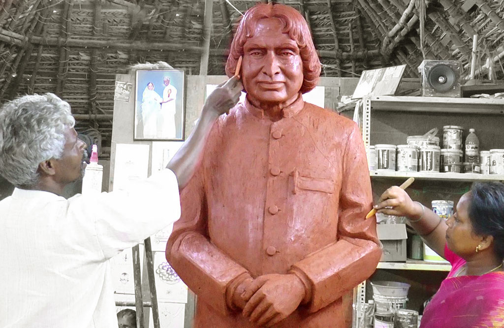 terracotta sculpture abdul kalam by munusamy