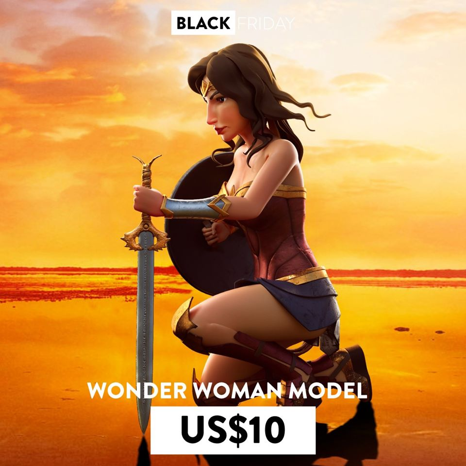 3d model wonder woman sit