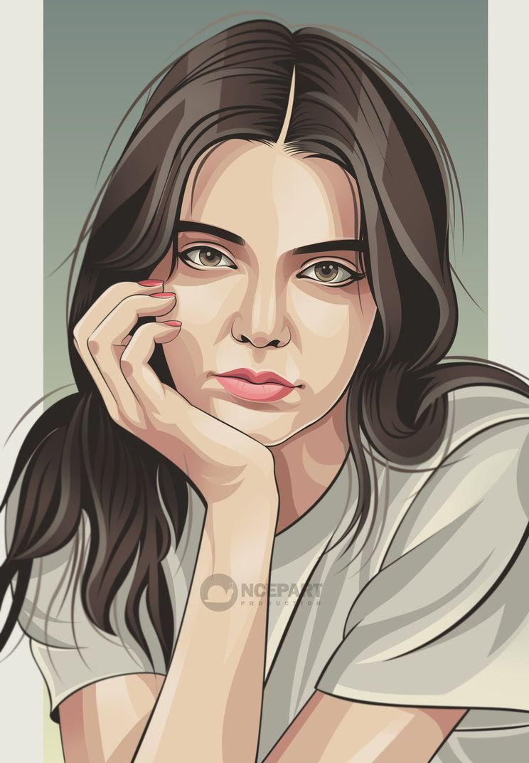 vexel art portrait vector illustration lady white