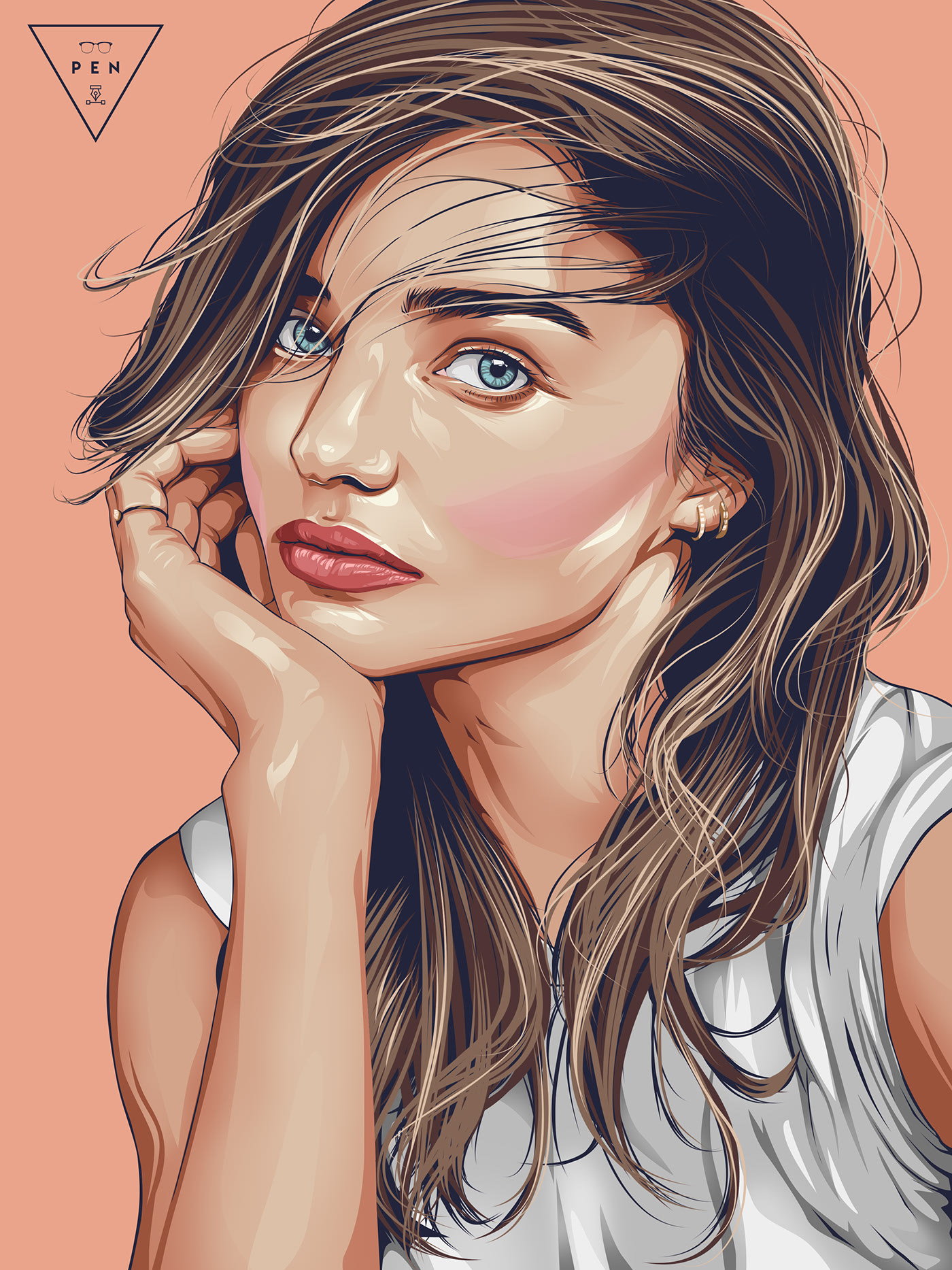 vexel art portrait vector illustration miranda kerr by stephin condes