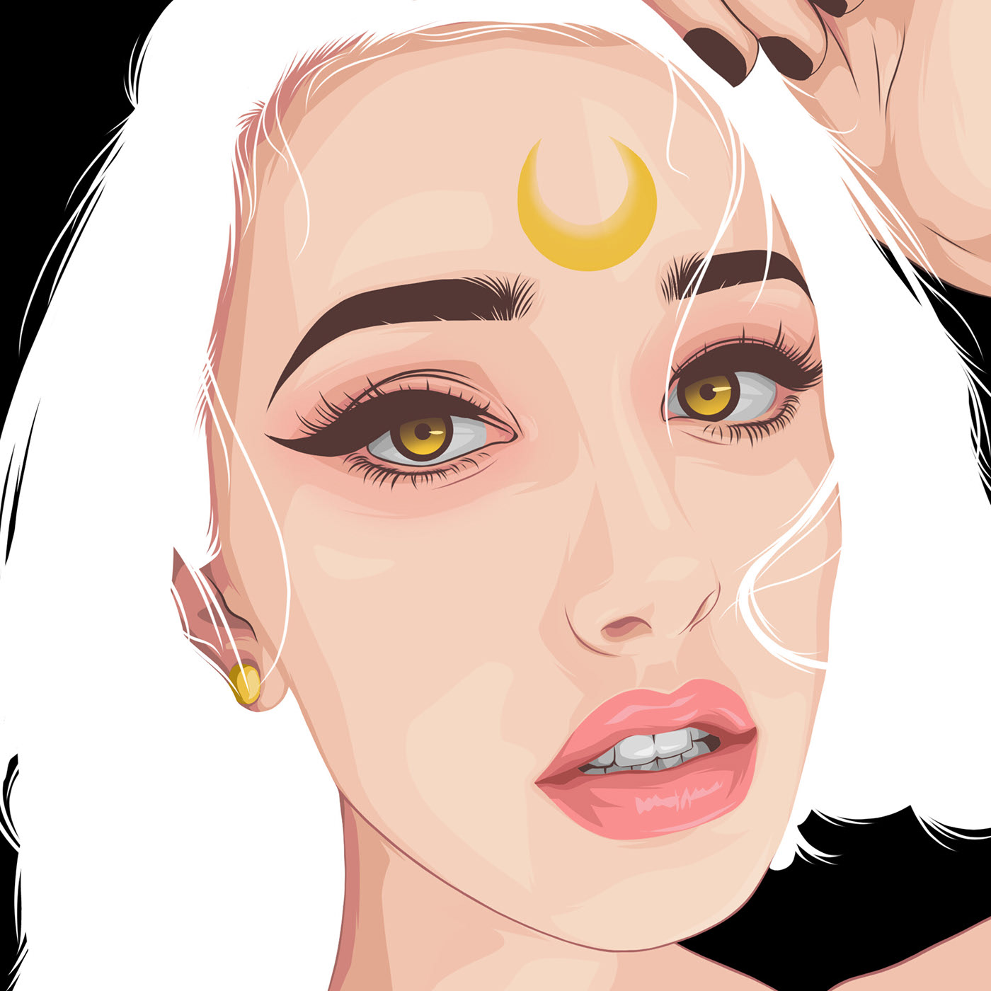 vexel art portrait vector illustration moon face lady by orkhan ljrai