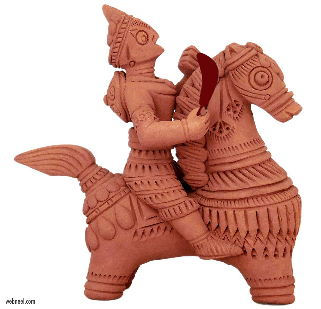 terracotta sculpture soldier on horse