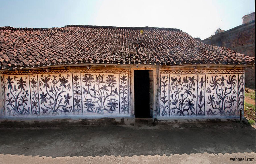 sohrai painting tribal house art jharkhand