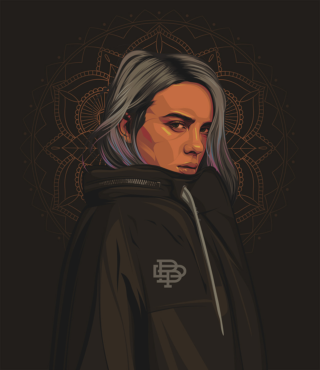 vexel art portrait vector illustration billie eilish by biko tecson