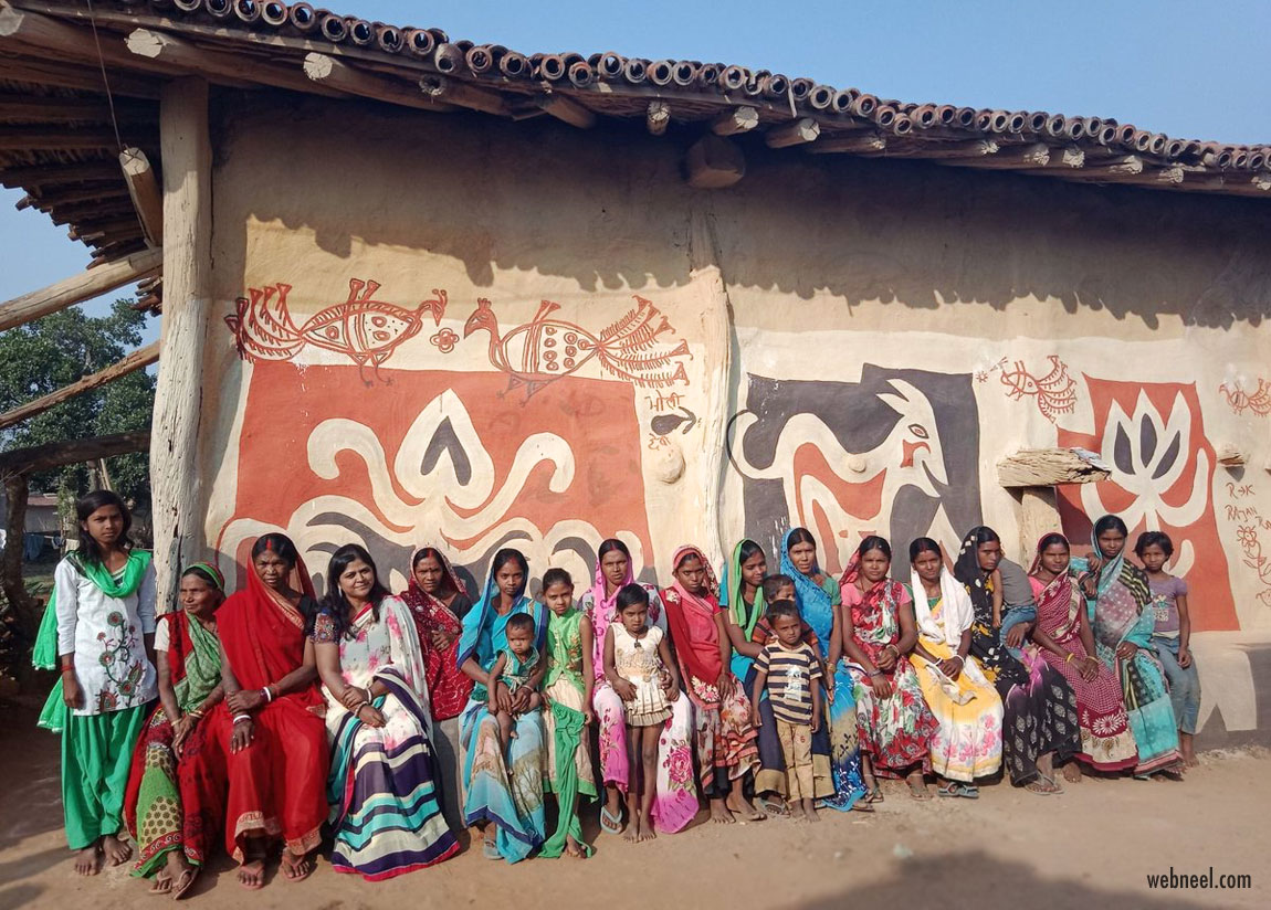 hazaribagh sohrai kohvar mural walls village women tribal art jharkhand