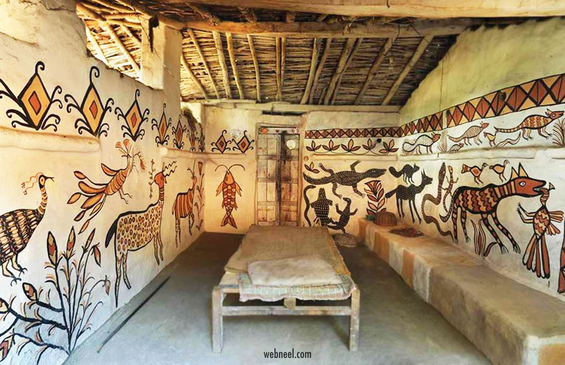 kohvar painting in a bedroom tribal art jharkhand