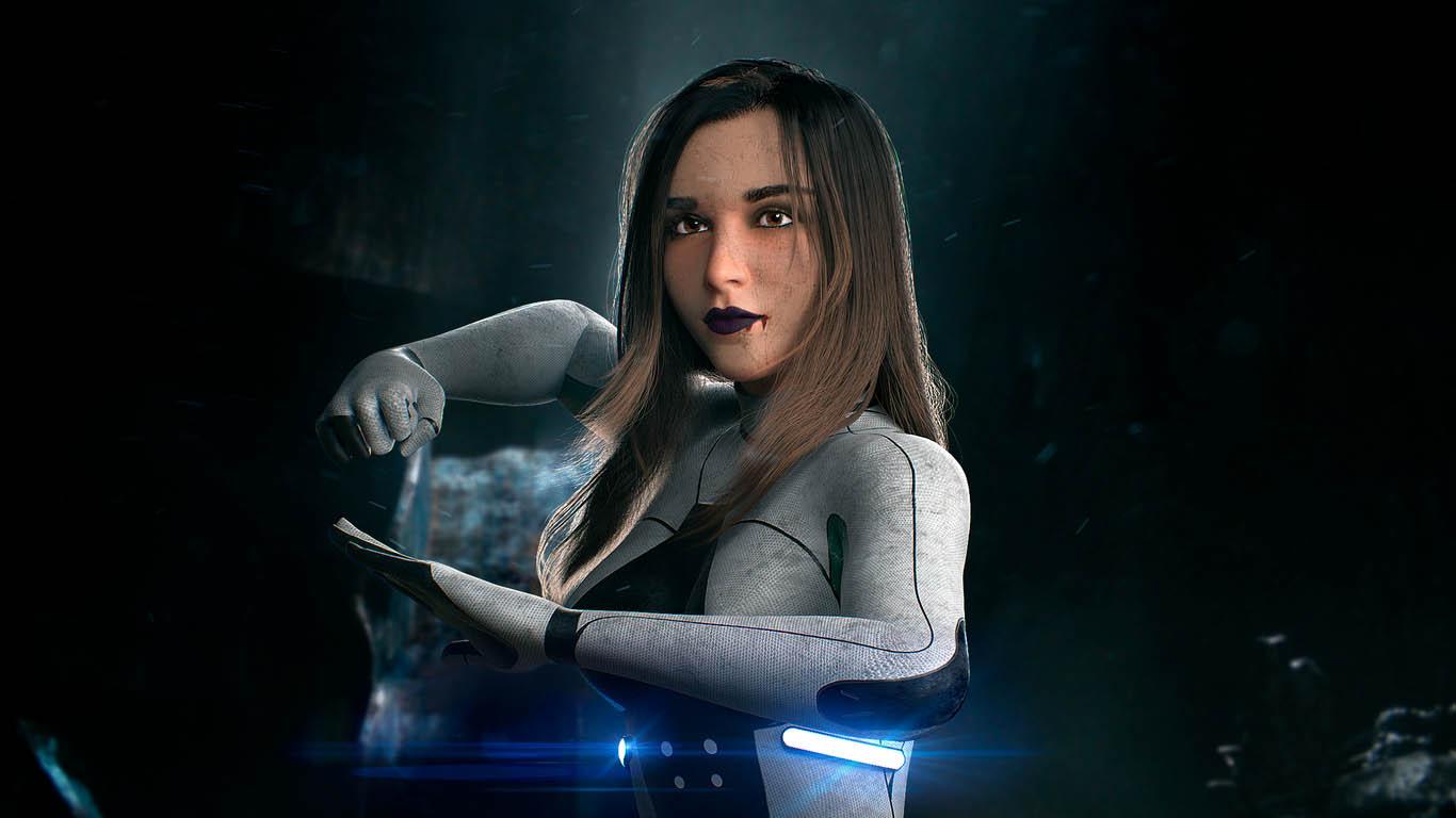 sci fi 3d model space girl