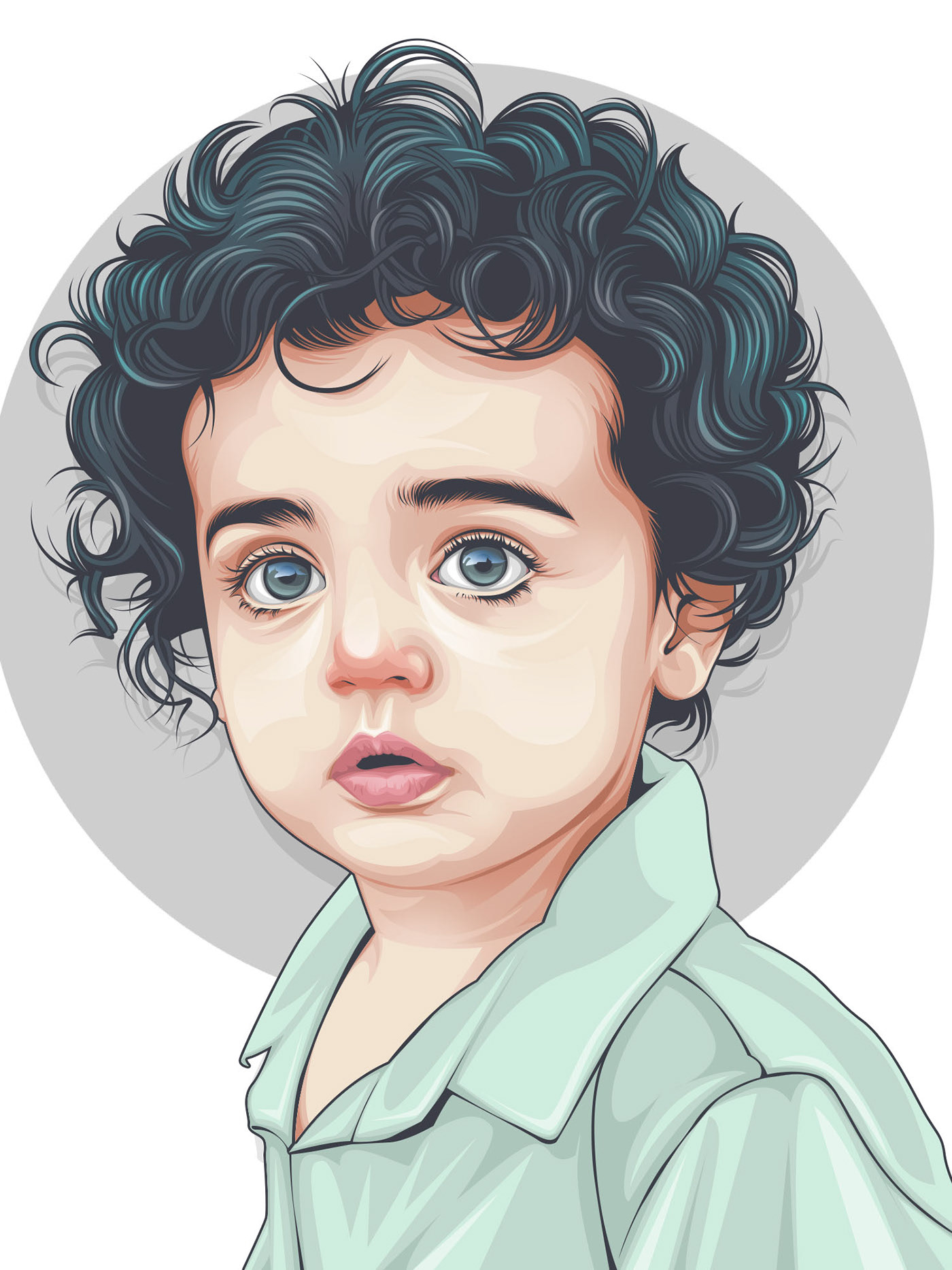 vexel art portrait vector illustration toddler by rizky fadillah