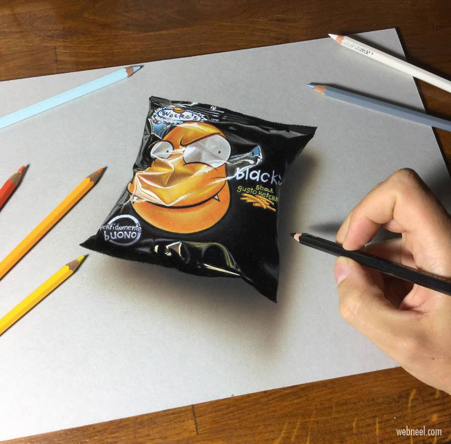 3d drawing chips pocket cover by marcello barenghi