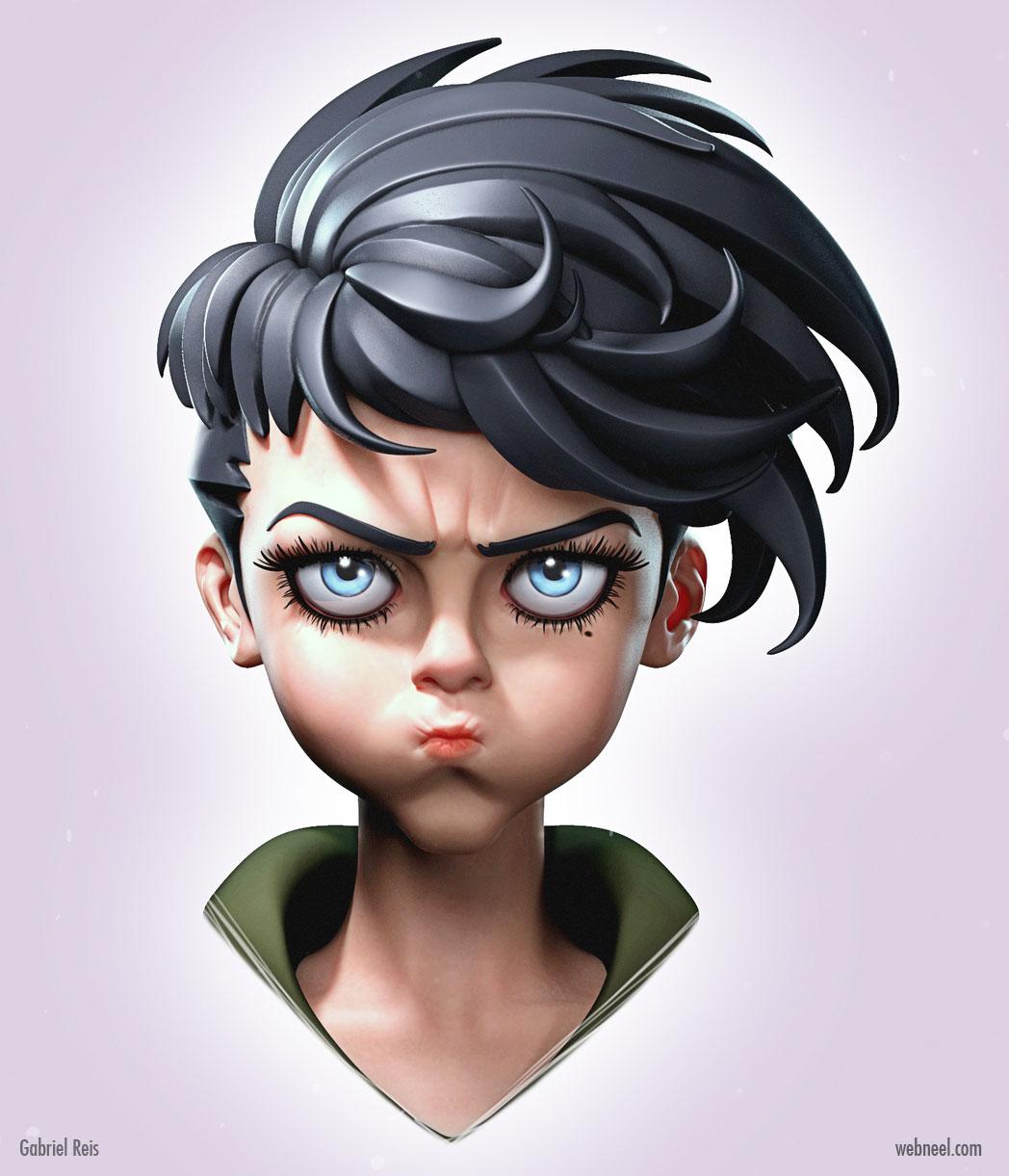 3d model face funny grumpy girl by gabrielreis