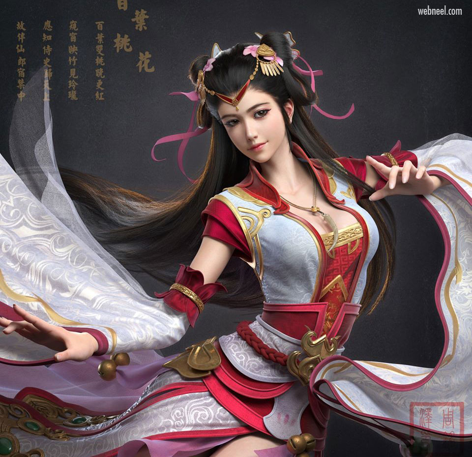 3d model fantasy girl chinese by mzchou