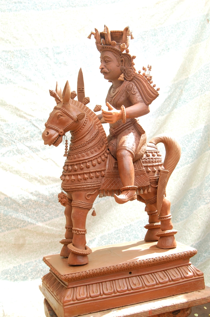 terracotta sculpture horse ride by munusamy