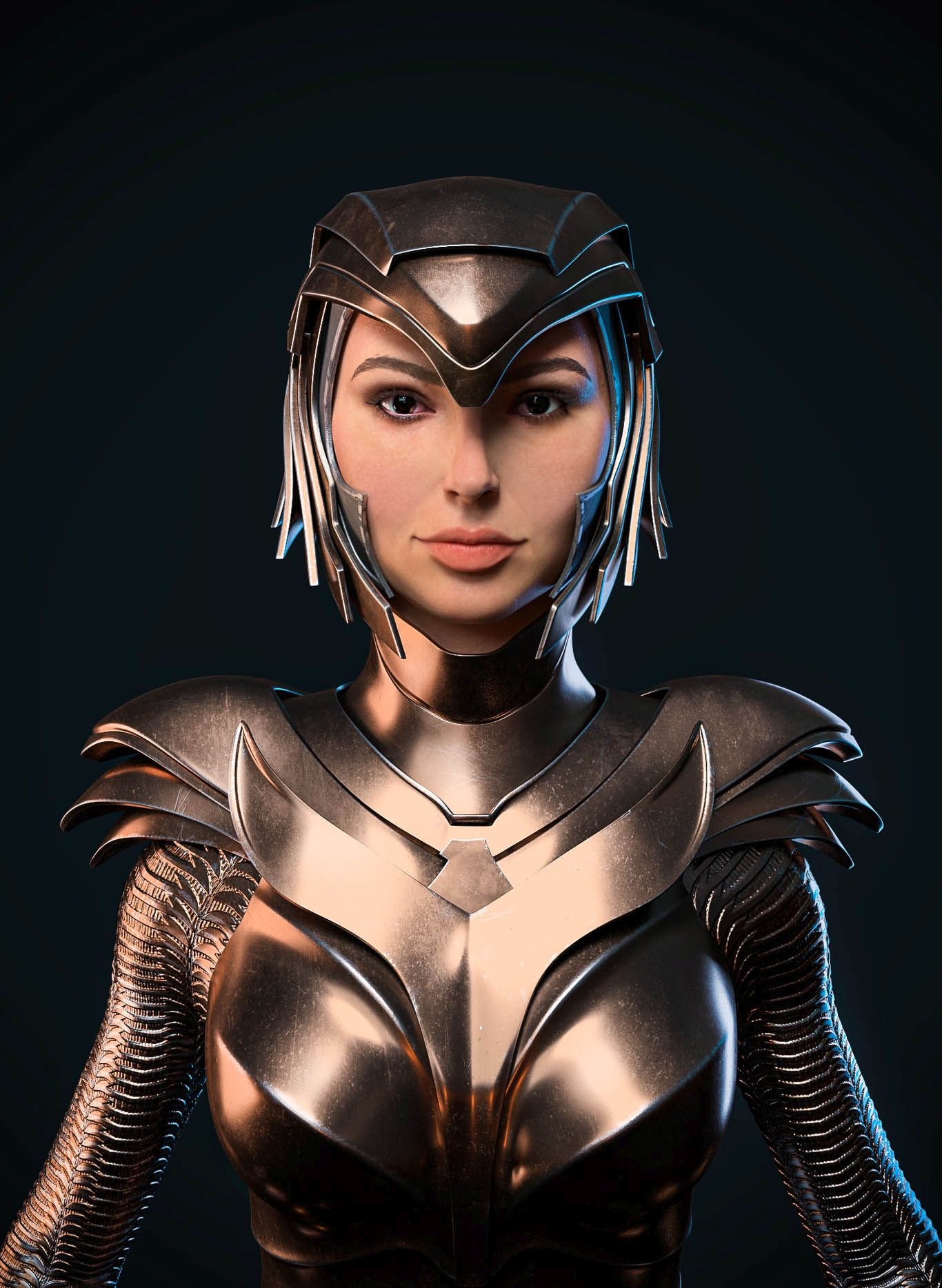 3d model wonder woman golden front face