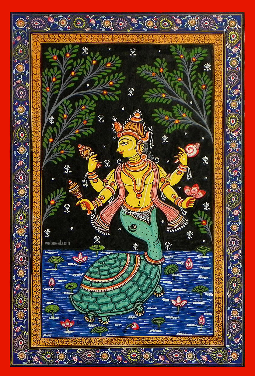 pattachitra painting lord vishnu