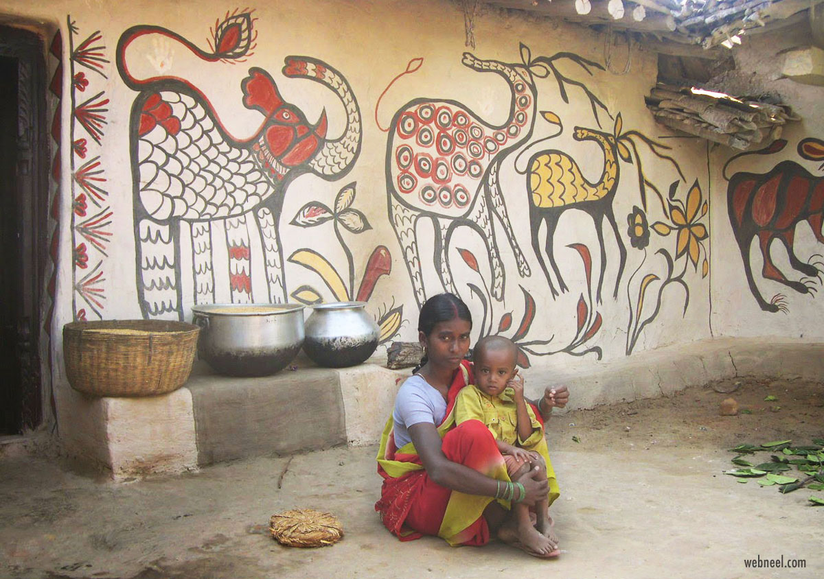 sohrai paintings tribal art jharkhand