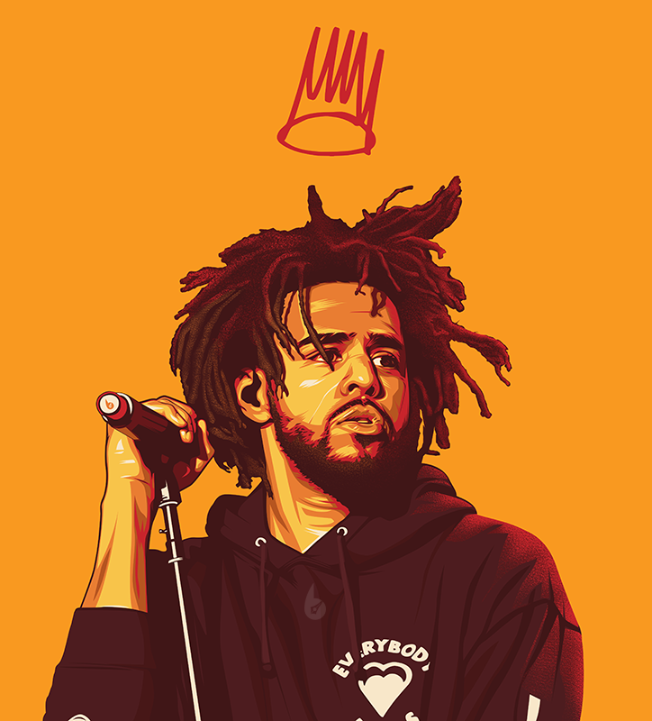 vexel art portrait vector illustration j cole by biko tecson