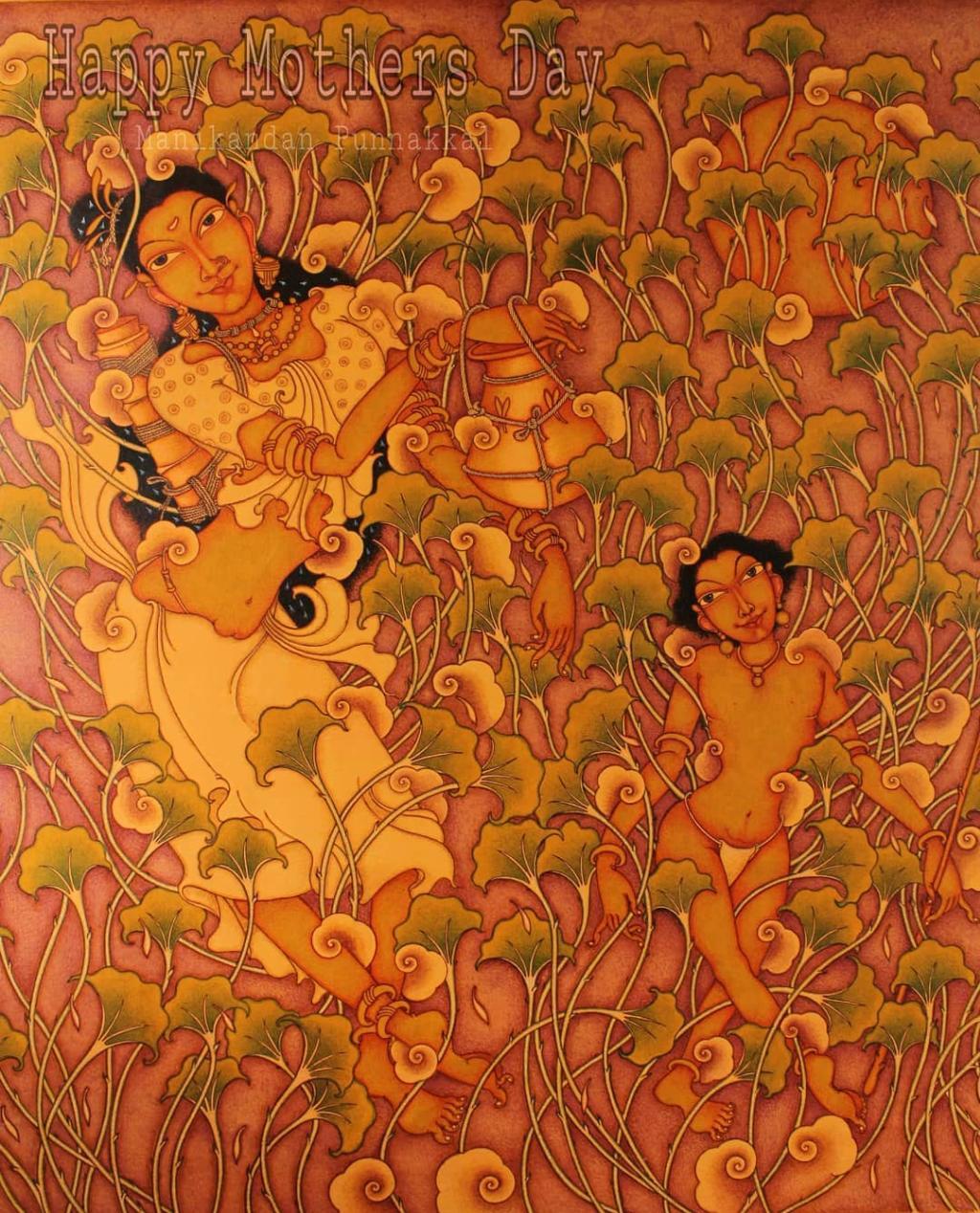 kerala painting mother child by manikandan punnakkal