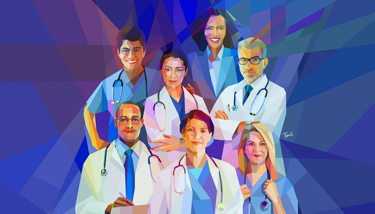 low poly digital illustration doctors by charis tsevis