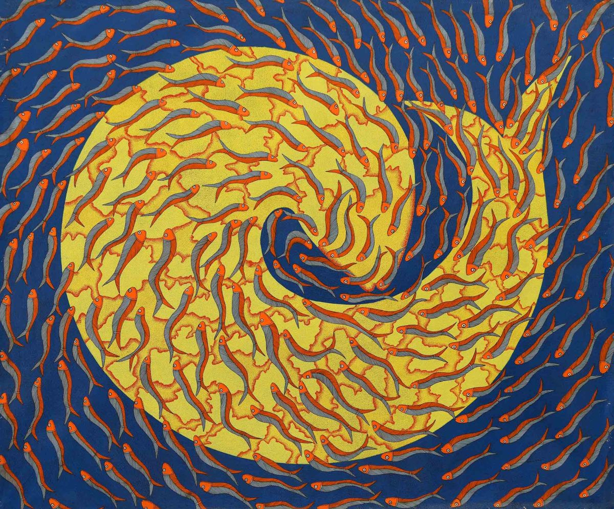 stunning gond painting fishes