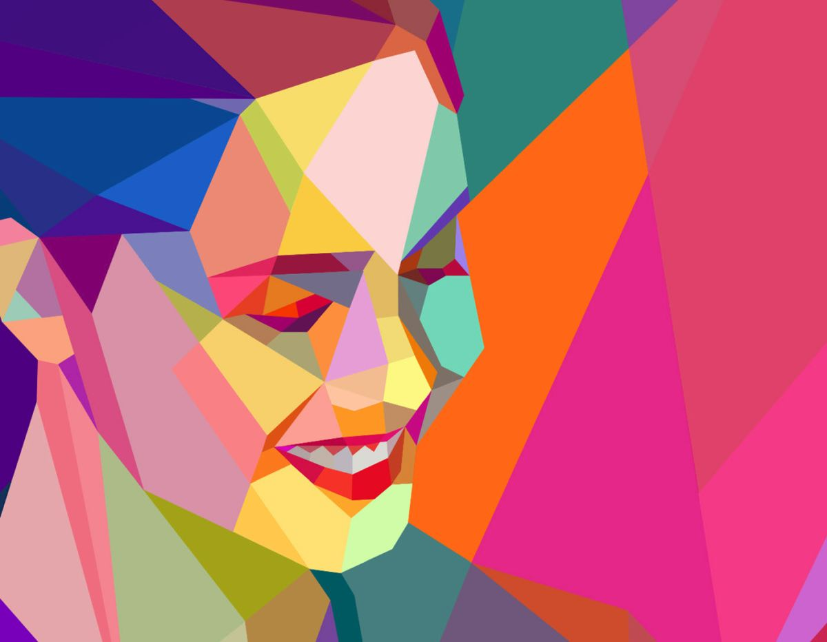 low poly digital illustration woman by charis tsevis