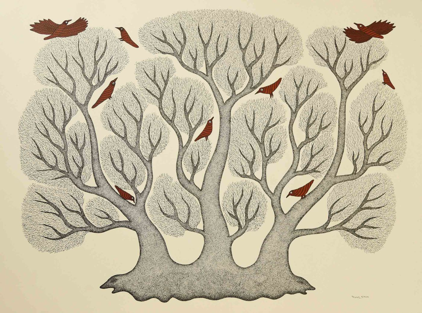 indian folk art gond painting tree birds