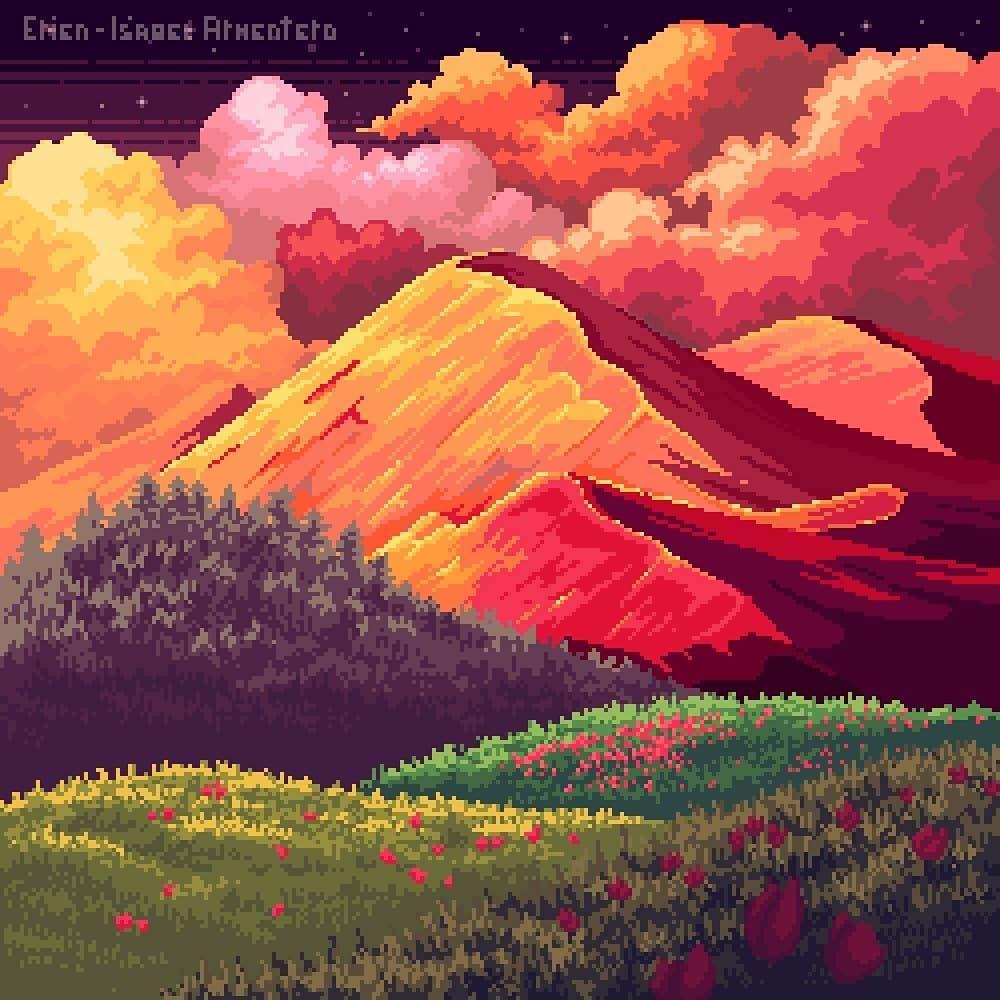 pixel drawing beautiful mountain by isabel erien armentero
