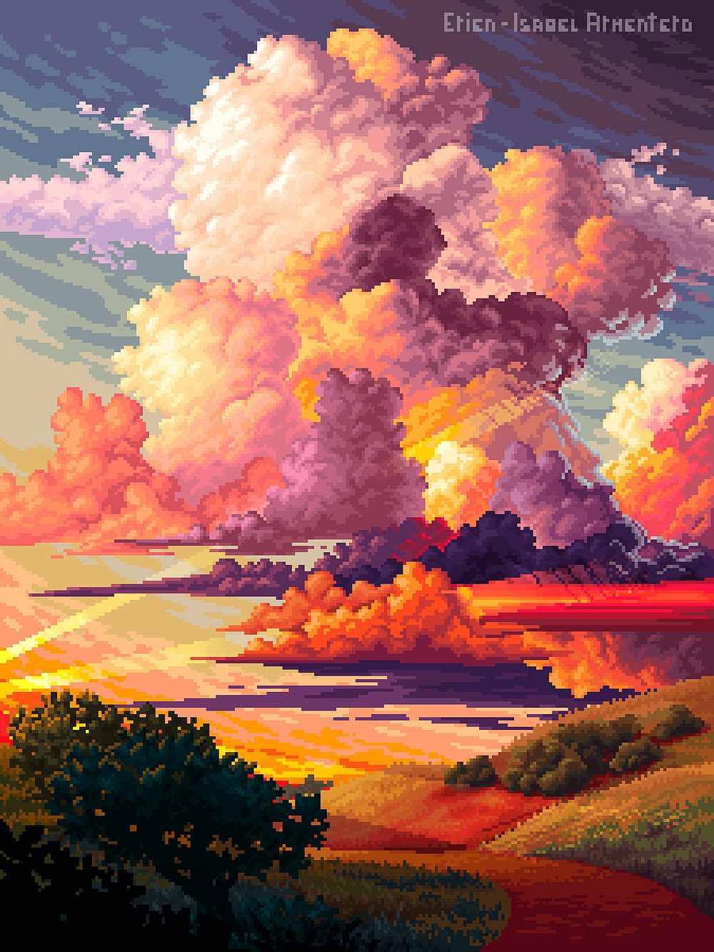 pixel drawing beautiful sky clouds by isabel erien armentero